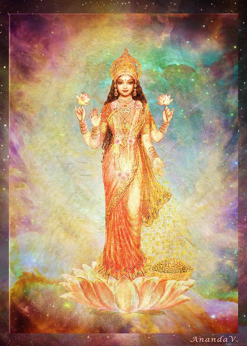 Goddess Painting Greeting Card featuring the mixed media Lakshmi Floating In A Galaxy by Ananda Vdovic