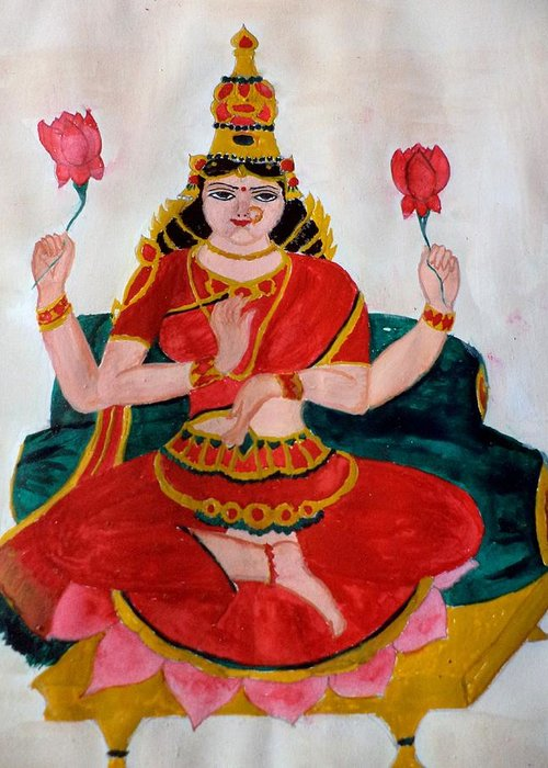 Lakshmi Greeting Card featuring the painting Lakshmi by Pratyasha Nithin