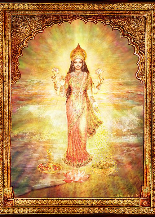 Goddess Painting Greeting Card featuring the mixed media Lakshmi The Goddess Of Fortune And Abundance by Ananda Vdovic