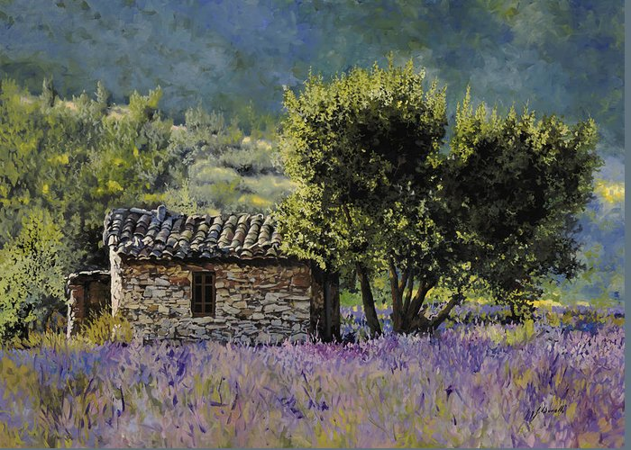Lavender Greeting Card featuring the painting Lala Vanda by Guido Borelli