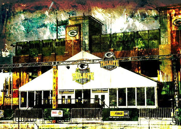 Lambeau Field Greeting Card featuring the photograph Lambeau Field - Tundra Tailgate Zone by Joel Witmeyer