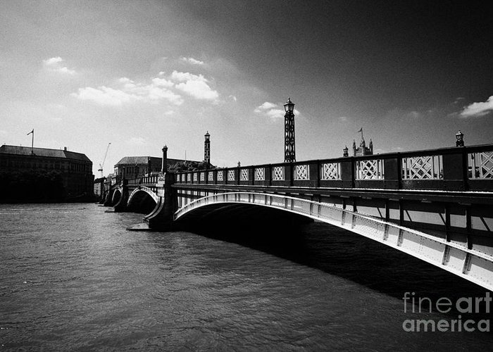 Bridge Greeting Card featuring the photograph lambeth bridge over the river thames central London England UK by Joe Fox