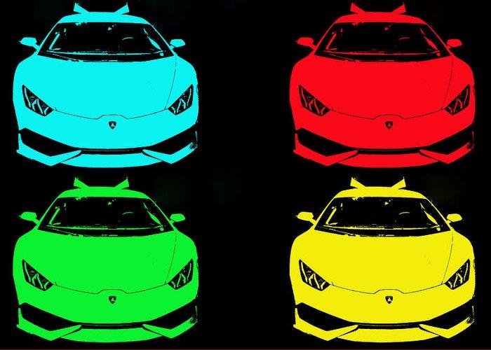 Lambo Lamborghini Supercar Teen Kids Auto Racecar Car Sportscar Italy Italian Fast Huricana Race Car Fast Art Greeting Card featuring the photograph Lambo Pop Art by J Anthony