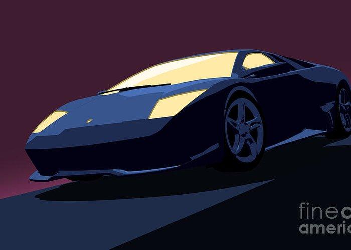 Lamborghini Murcielago Greeting Card featuring the digital art Lamborghini Murcielago - Pop Art by Pixel Chimp