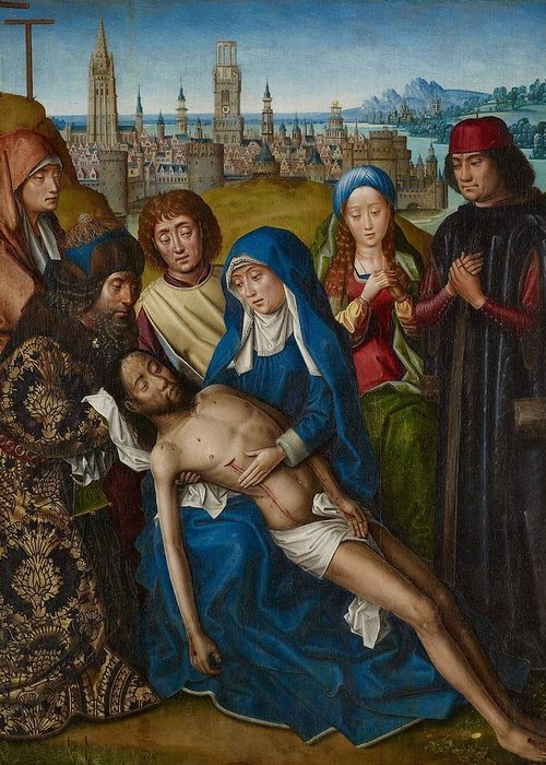 Jesus Greeting Card featuring the painting Lamentation With Saint John The Baptist And Saint Catherine Of Alexandria by Master of the Legend of Saint Lucy