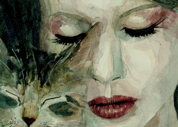 Lana Del Rey Greeting Card featuring the painting Lana Del Rey And A Friend by Paul Lovering