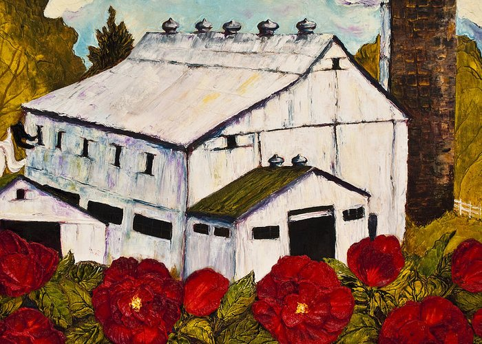 Barn Paintings Greeting Card featuring the painting Lancaster Red Rose And Barn by Paris Wyatt Llanso