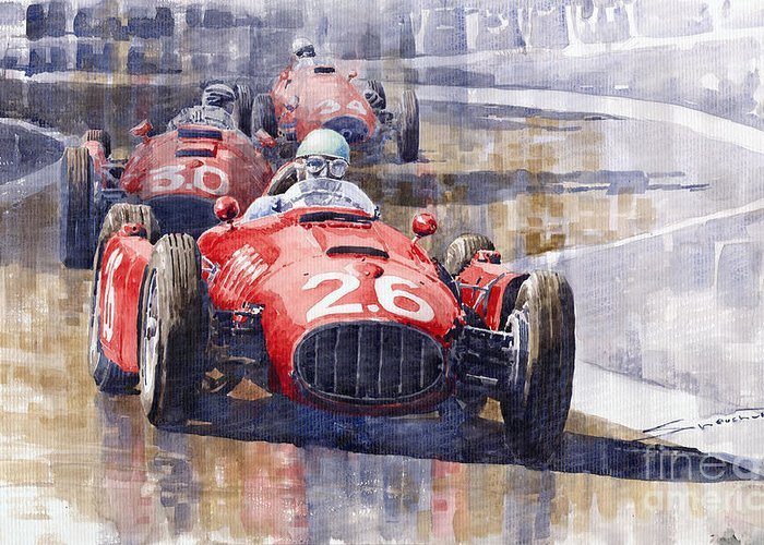 Watercolour Greeting Card featuring the painting Lancia D50 Monaco Gp 1955 by Yuriy Shevchuk