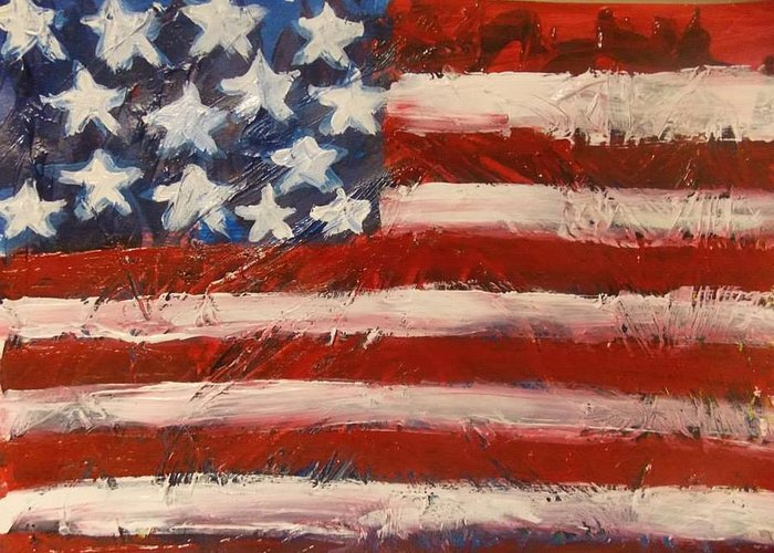 America Greeting Card featuring the painting Land Of The Free by Niceliz Howard
