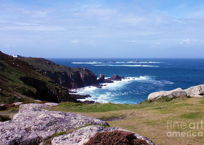 Lands End Greeting Card featuring the photograph Land's End And Longships Lighthouse Cornwall by Terri Waters