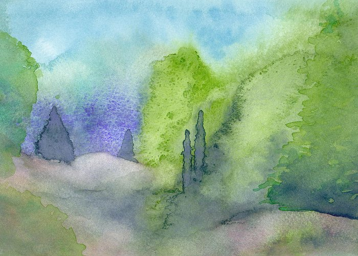 Landscape Greeting Card featuring the painting Landscape 3 by Christina Rahm Galanis