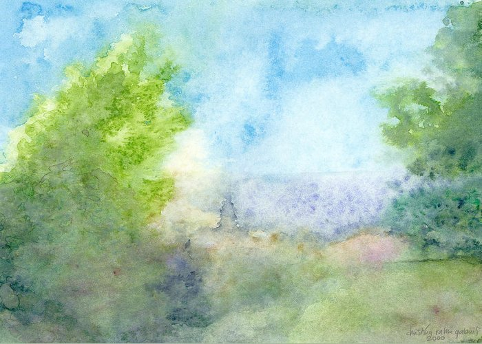 Landscape Greeting Card featuring the painting Landscape 4 by Christina Rahm Galanis
