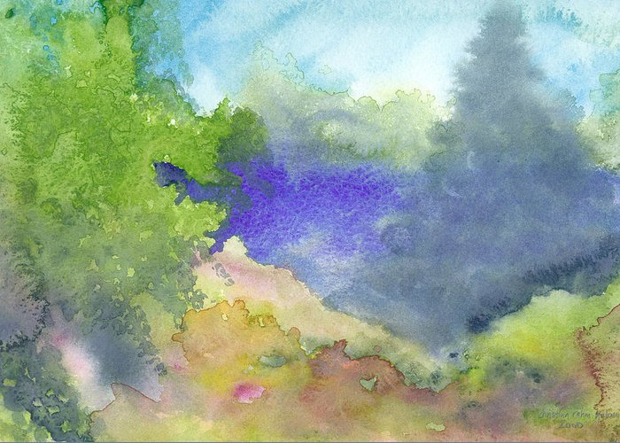 Landscape Greeting Card featuring the painting Landscape 5 by Christina Rahm Galanis