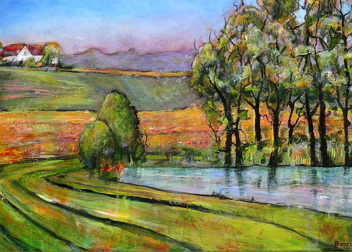 Landscape Art Greeting Card featuring the painting Landscape Art Scenic Fields by Blenda Studio