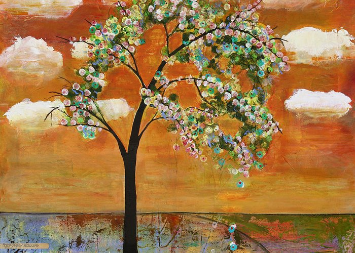 Landscapes Art Greeting Card featuring the painting Landscape Art Scenic Tree Tangerine Sky by Blenda Studio