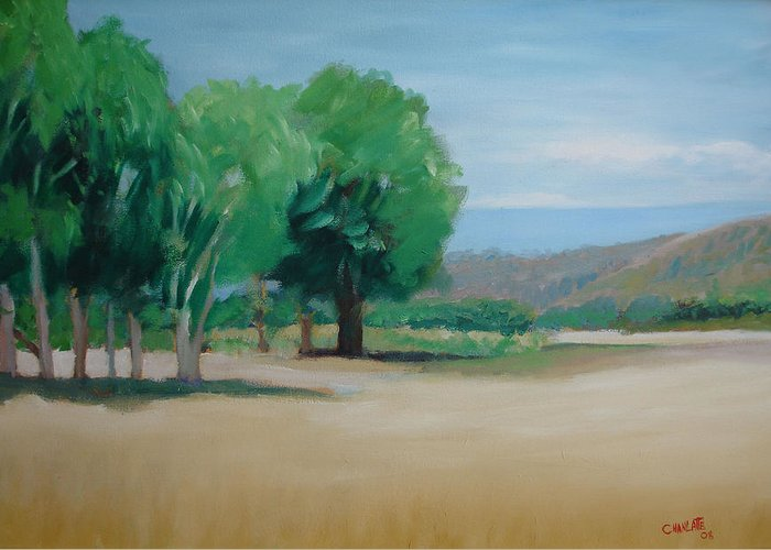 Landscape Greeting Card featuring the painting Landscape At Montelimar by Marino Chanlatte