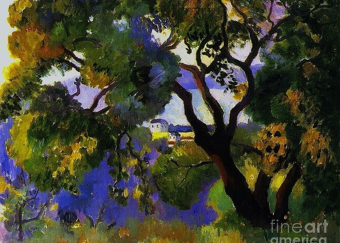 Pd Greeting Card featuring the painting Landscape At St Tropez 2 by Pg Reproductions