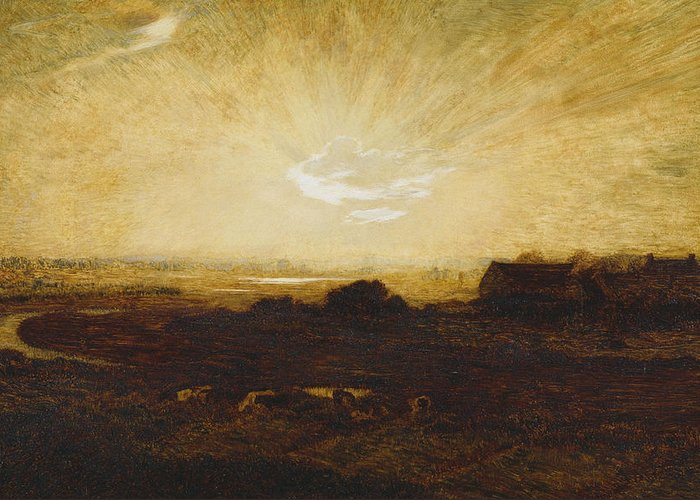 Sun Greeting Card featuring the painting Landscape At Sunset by Marie Auguste Emile Rene Menard