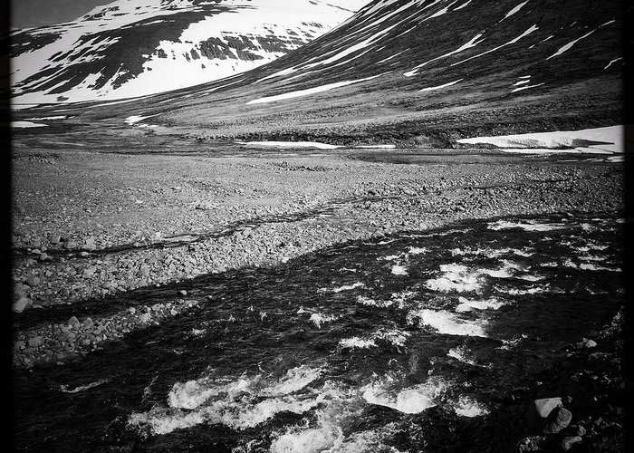 Landscape Greeting Card featuring the photograph Landscape North Iceland black and white by Matthias Hauser