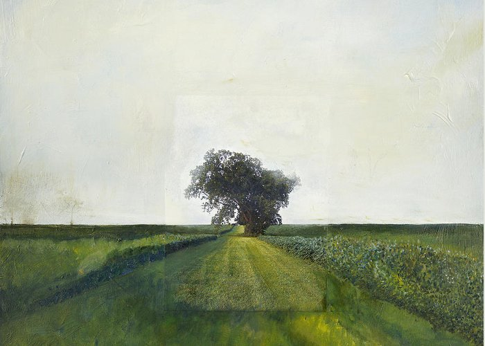 Landscape Painting Greeting Card featuring the painting Landscape Painting-lone Tree-barbara J. Hart-oil On Canvas-24 by Barbara J Hart