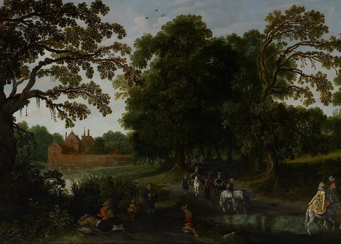 Landscape Greeting Card featuring the painting Landscape With A Courtly Procession Before Abtspoel Castle by Esaias I van de Velde