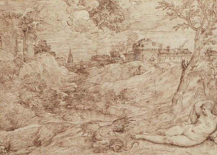 Fantasy Landscape With Figure Drawings Greeting Cards