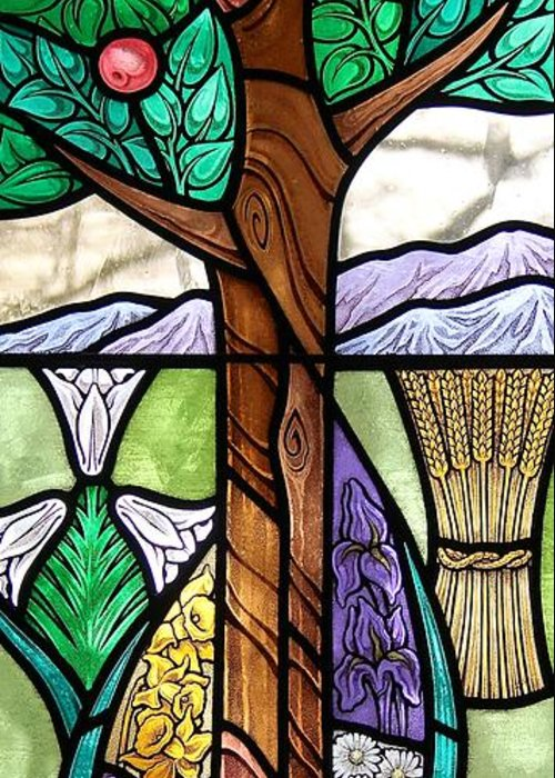 Stained Glass Greeting Card featuring the glass art Landscape With Flora by Gilroy Stained Glass