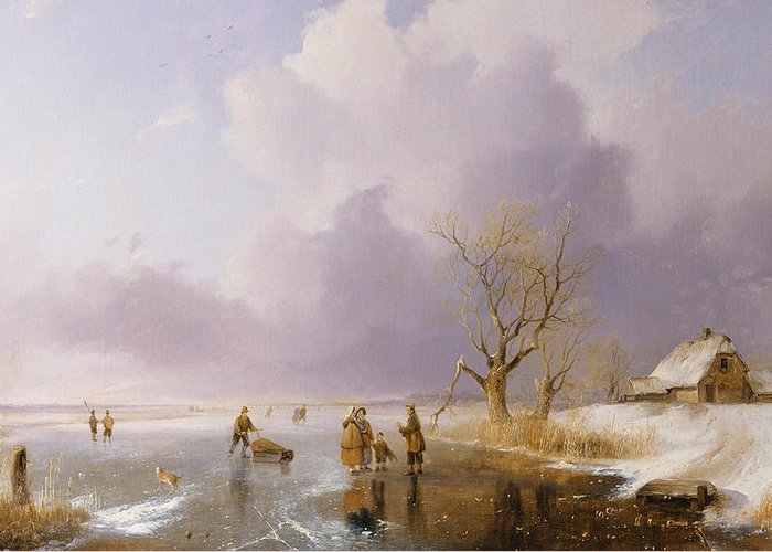 Winter Greeting Card featuring the painting Landscape With Frozen Canal by Remigius van Haanen
