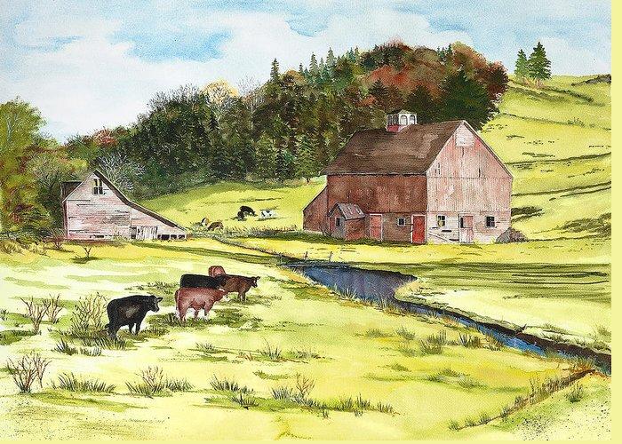 Susan Greeting Card featuring the painting Lanesboro Barn by Susan Crossman Buscho