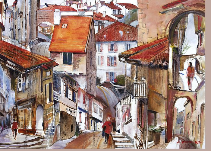 Landscape Greeting Card featuring the painting Laneways Of Nerac by Shirley Peters