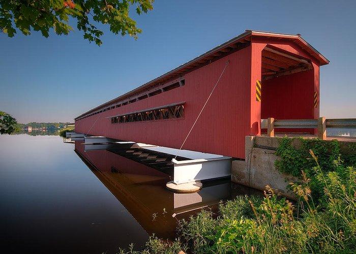 Bridge Greeting Card featuring the photograph Langley Covered Bridge Michigan by Steve Gadomski