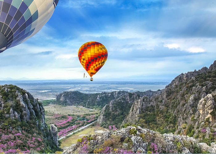 Agriculture Greeting Card featuring the photograph Lanscape Of Mountain And Balloon by Anek Suwannaphoom