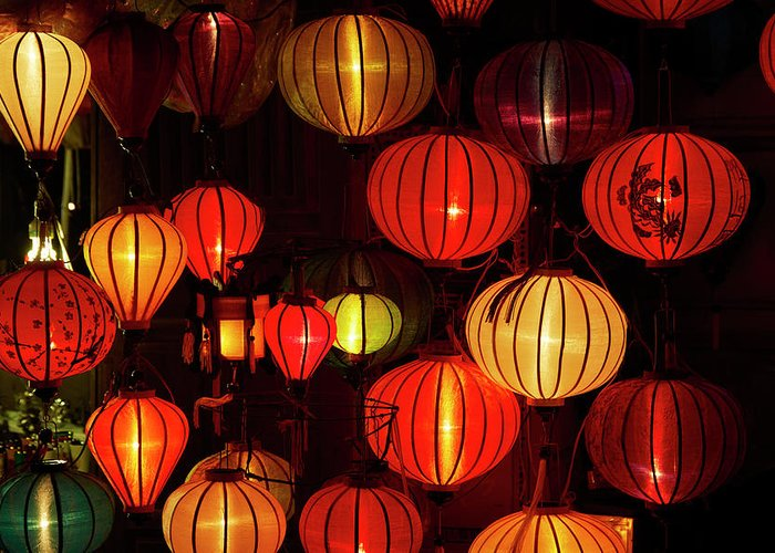 Danita Delimont Greeting Card featuring the photograph Lantern Shop At Night, Hoi An, Vietnam by David Wall