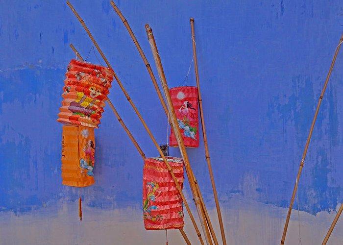 Penang Greeting Card featuring the photograph Lanterns A Penang. by Tony Brown