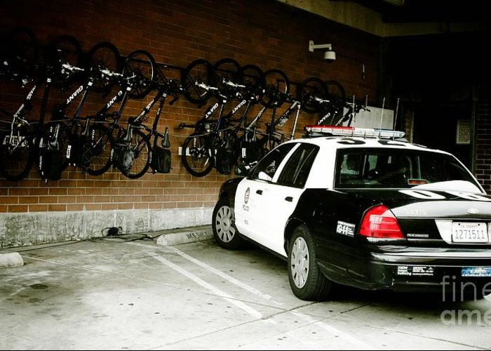 Lapd Cruiser And Police Bikes Greeting Card featuring the photograph Lapd Cruiser And Police Bikes by Nina Prommer