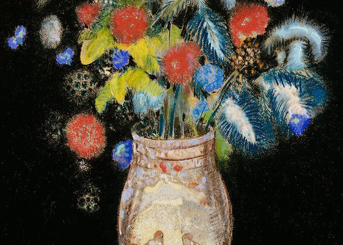 Still Life; Flower; Vase Greeting Card featuring the painting Large Bouquet On A Black Background by Odilon Redon