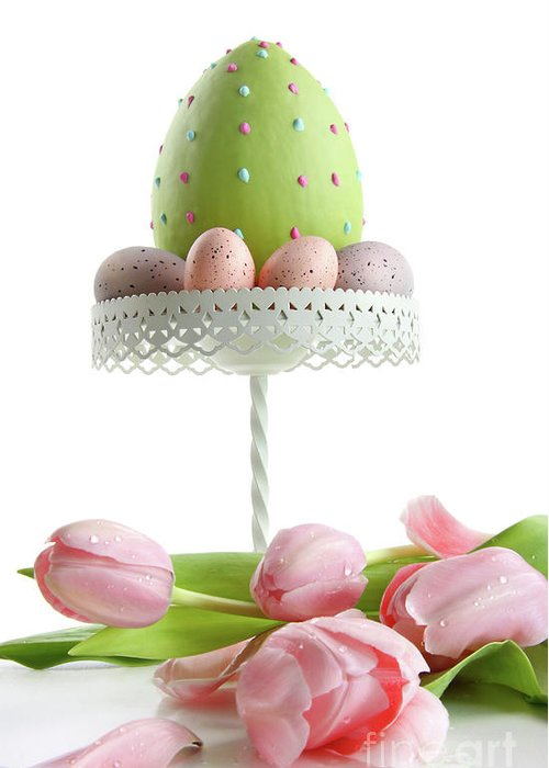 April Greeting Card featuring the photograph Large Easter Egg With Pink Tulips by Sandra Cunningham
