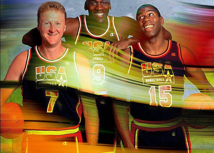 Greeting Card featuring the mixed media Larry Bird Michael Jordon And Magic Johnson by Marvin Blaine