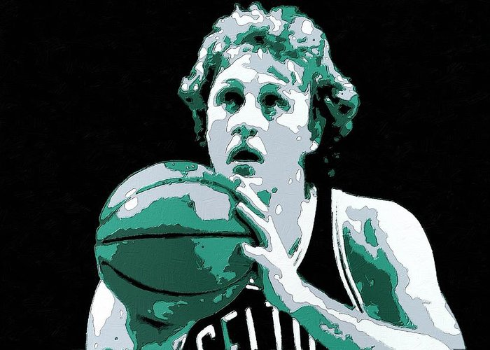Larry Bird Greeting Card featuring the painting Larry Bird Poster Art by Florian Rodarte