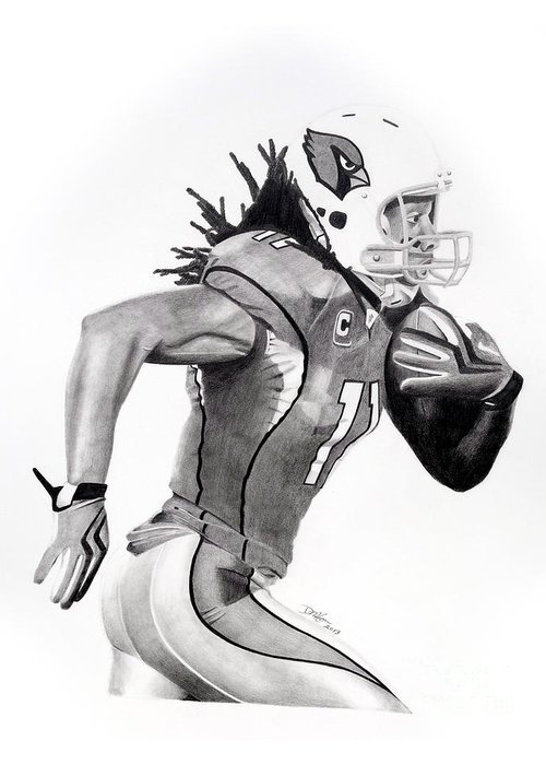 Larry Fitzgerald Greeting Card featuring the drawing Larry Fitzgerald Fitz by Devin Millington
