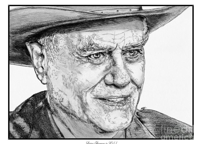 Larry Hagman Greeting Card featuring the drawing Larry Hagman In 2011 by J McCombie
