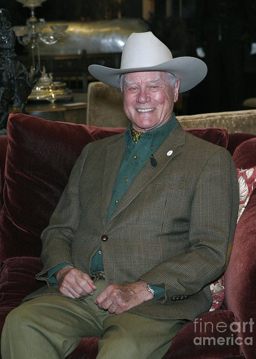 Celebrities Greeting Card featuring the photograph Larry Hagman by Nina Prommer
