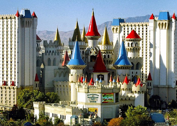 Las Vegas Greeting Card featuring the photograph Las Vegas - Excalibur Hotel by Jon Berghoff