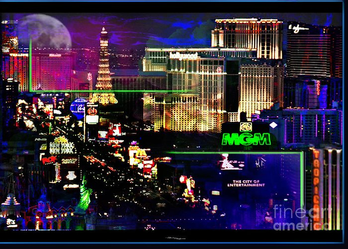 Las Vegas Greeting Card featuring the mixed media Las Vegas Igniting Your Fire by Christine Mayfield