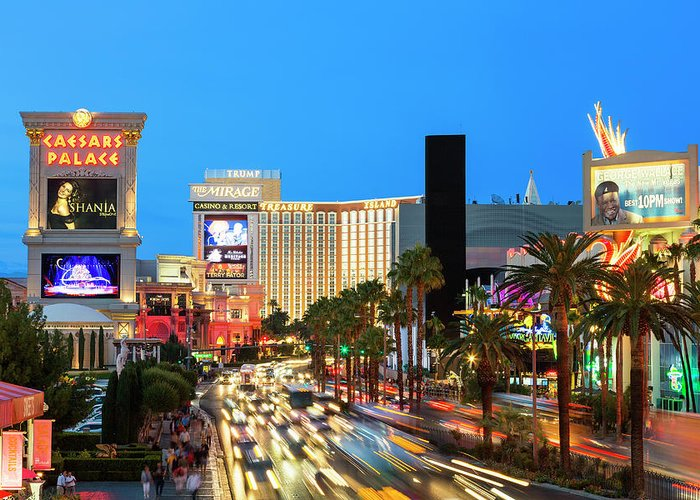 Built Structure Greeting Card featuring the photograph Las Vegas Strip At Dusk With Hotels And by Sylvain Sonnet
