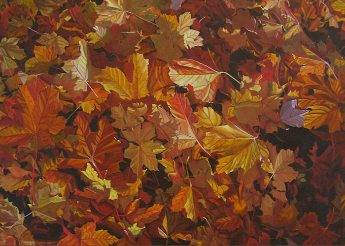 Fall Greeting Card featuring the painting Last Fall In Monroe by Thu Nguyen