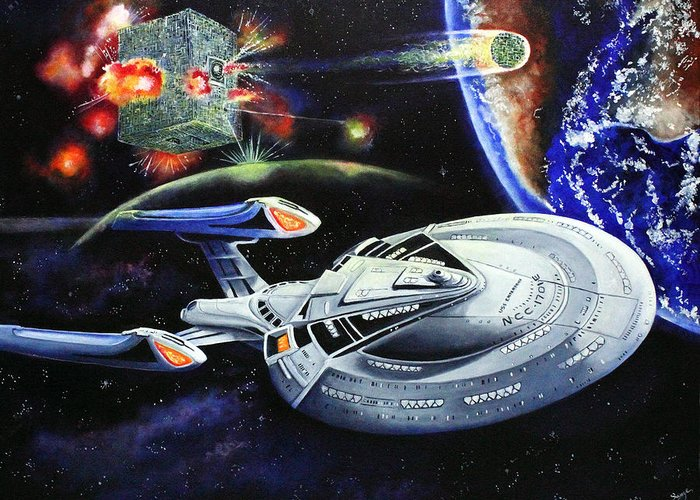 Star Trek Greeting Card featuring the painting Last Hope by Richard Savage
