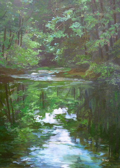 Impressionist Water Landscape Greeting Card featuring the painting Last Light by Denise Ivey Telep