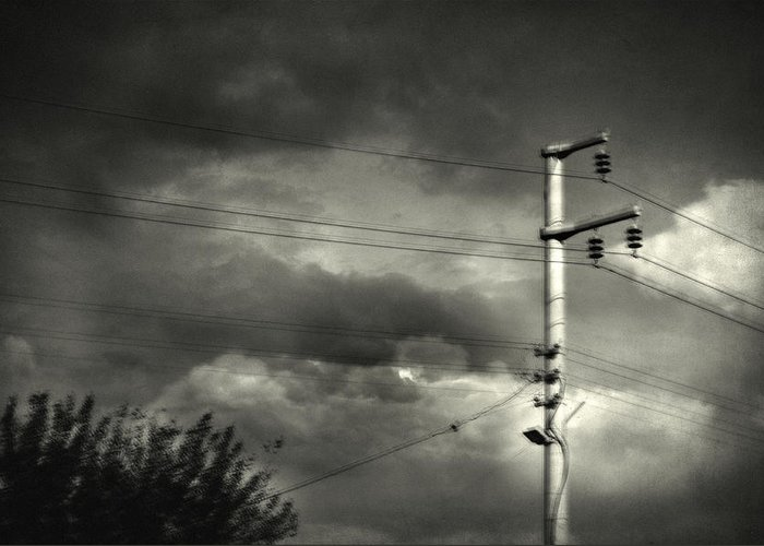 Electricity Wires Greeting Card featuring the photograph Last Morning by Taylan Apukovska
