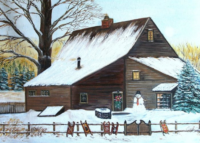 Landscape Greeting Card featuring the painting Last of Winter by Kenneth LePoidevin
